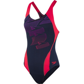 speedo Boom Placement Racerback Swimsuit Damen navy/red
